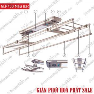 Giàn phơi điện tử, điều khiển từ xa GLP750 màu bạc