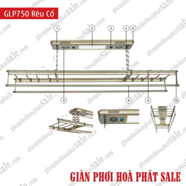 Giàn phơi điện tử, điều khiển từ xa GLP750 màu rêu cổ