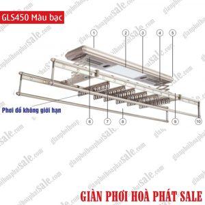 Giàn phơi điện tử, điều khiển từ xa GLS450 Màu bạc