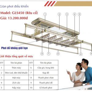 Giàn phơi điện tử, điều khiển từ xa GLS450 Màu rêu cổ